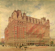 Broadway Painting Metal Prints - Waldorf Astoria Hotel Metal Print by Hughson Frederick Hawley