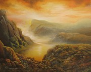 Riverbed Paintings - Wales sunset by Raymond Frans
