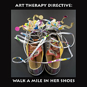 Shoe Mixed Media Prints - Walk a Mile in Her Shoes Print by Anne Cameron Cutri