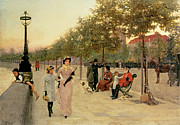 Dog Walking Painting Framed Prints - Walk along the Embankment at Chelsea Framed Print by Frederick Brown