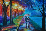 Nightime Paintings - Walk By The Lake  by Leslie Allen