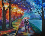 Lighted Pathway Prints - Walk By The Lake Series 1 Print by Leslie Allen