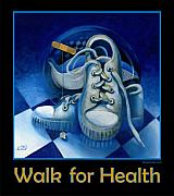 Jogging Paintings - Walk for Health Poster by Roger Calle