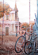 Bicycle Drawings - walk in Formigine-2 by Khromykh Natalia