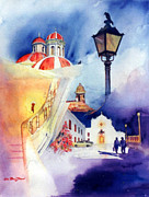 San Juan Prints Paintings - Walk in Old San Juan by Estela Robles