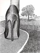 Shoe Drawings - Walk in the Country by Grace Rose