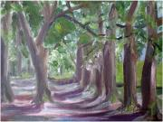 Live Oak Trees Paintings - Walk In The Park by Hal Newhouser
