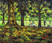 Greeting Cards Pastels Prints - Walk In The Park Print by John  Nolan