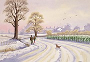 Dog Walking Posters - Walk in the Snow Poster by Lavinia Hamer 