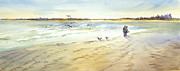 Maine Shore Painting Originals - Walk on the Beach by Bonnie Ross