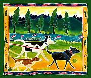Whimsical Art Painting Prints - Walk the Dogs Print by Harriet Peck Taylor