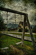 Street Photographer Photographs Prints - Walk To The Swings Print by Jerry Cordeiro