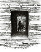 Log Cabin Drawings Prints - Walker Sisters Cabin Door Print by Bob  George