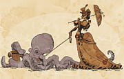 Featured Framed Prints - Walkies for Otto Framed Print by Brian Kesinger