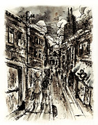 Chicago Drawings Prints - walkin in the City Print by Rachel Christine Nowicki
