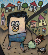 Featured Drawings - Walkin the dog by James W Johnson