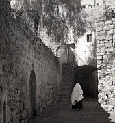 Holyland Prints - Walking Alone Print by Munir Alawi