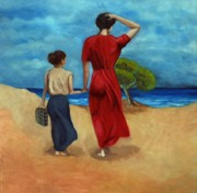 Oils Originals - Walking at the beach after Pino by Kostas Koutsoukanidis