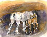 Colts Paintings - Walking away by Mary Armstrong