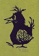 Linoleum Art - Walking Bird with green background by Barry Nelles Art