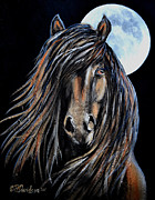 Spanish Horses Paintings - Walking By The Light Of The Moon by Patricia L Davidson