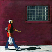 Linda Apple Originals - Walking Home - figurative city scene by Linda Apple