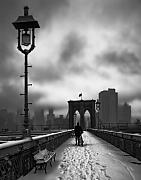 Brooklyn Bridge Posters - Walking Home Poster by June Marie Sobrito
