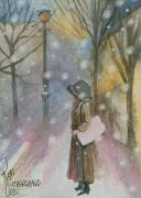 Town Square Painting Posters - Walking In A Winter Wonderland Poster by Kim Whitton