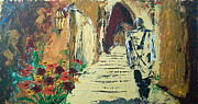 Religions Paintings - Walking in the old city by Micky Goldstein
