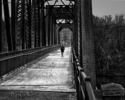 Bridge Photography Prints - Walking In The Rain Print by Bob Orsillo