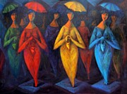 Gastonia Paintings - Walking in the Rain by Marina R Burch