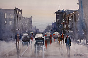 Streetscape Painting Originals - Walking in the Rain by Ryan Radke
