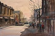 Cityscape Paintings - Walking in the Shadows - Fond du Lac by Ryan Radke