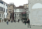 Grays Digital Art - Walking in Venice by Mindy Newman