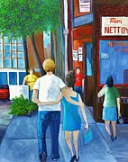 Quebec Streets Paintings - Walking on a Sunny Day by Reb Frost