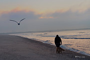 Dog Walking Digital Art Prints - Walking on the Beach - Cape May Print by Bill Cannon