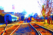 Depot Digital Art Prints - Walking On The Train Tracks In Old Sacramento California . Painterly . Vision 2 Print by Wingsdomain Art and Photography