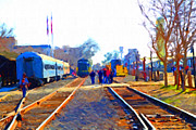 Rail Digital Art - Walking On The Train Tracks In Old Sacramento California . Painterly by Wingsdomain Art and Photography