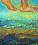 Walking On Water Paintings - Walking on Water panel 2 by Anne Cameron Cutri