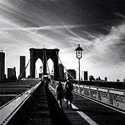 Landscapes Posters - Walking Over the Brooklyn Bridge - New York City Poster by Vivienne Gucwa