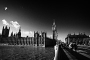 Palace Of Westminster Prints - Walking Over Westminster Bridge Towards The Palace Of Westminster Houses Of Parliament Buildings Print by Joe Fox