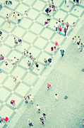 Town Square Photo Prints - Walking People Print by Carlo A