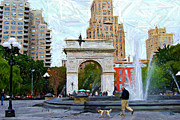 Dog Walking Metal Prints - Walking the Dog at Washington Square Park Metal Print by Randy Aveille
