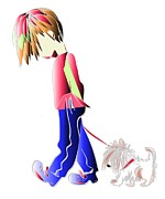 Walking The Dog Digital Art Characters Print by Ckeen Art