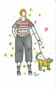 Dogs Drawings - Walking the Dog by Imelda Gregov