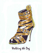 Straps Prints - Walking the Dog Print by Lynn Blake-John