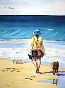 Dog Walking Painting Posters - Walking the Dog Poster by Renate Wright