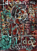 Outsider Art Mixed Media - Walking The Dog by Robert Wolverton Jr
