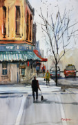 City Scene Paintings - Walking the Dog by Ryan Radke