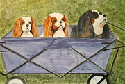 Spaniels Paintings - Walking the Dogs by Linda Scharck